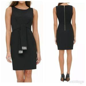 Tommy Hilfiger Sequin-Tie Sheath Dress Black Sz 4